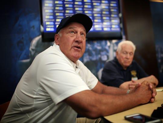Greg Mattison speaks to reporters Aug. 7, 2016, at Michigan Stadium.