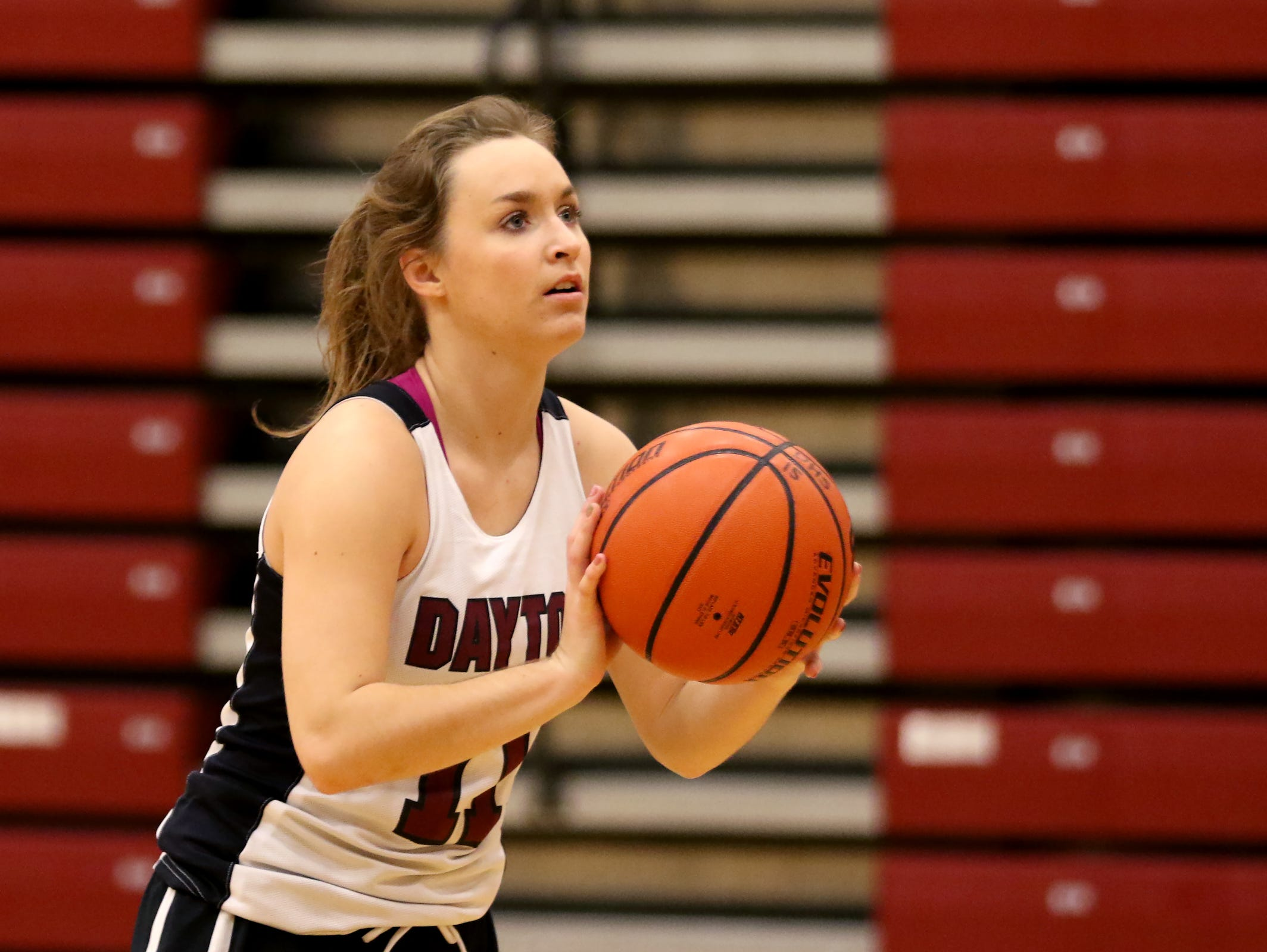 Junior Shawnie Spink leads the Dayton High School girl's basketball team. Photographed at Dayton High School on Tuesday, Nov. 22, 2016.