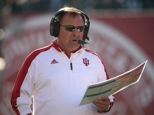 Indiana Hoosiers head coach Kevin Wilson during second half action of the Old Oaken Bucket game between Indiana and Purdue at Memorial Stadium in Bloomington on Saturday, Nov. 26, 2016.