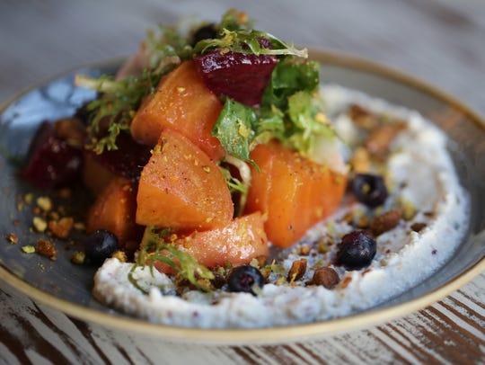 Beet salad from Otus Supply in Ferndale with blueberries,