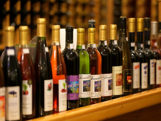 Some of the wines available at the Tomasello Winery tasting room at Wemrock Orchards in Freehold.