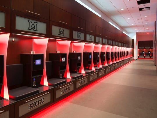 The new football locker room at the Miami University's Athletic Performance Center.