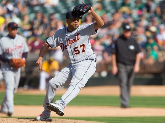 Francisco Rodriguez throws a pitch against the Athletics in the ninth inning of the Tigers' 8-6 loss May 7, 2017 in Oakland.