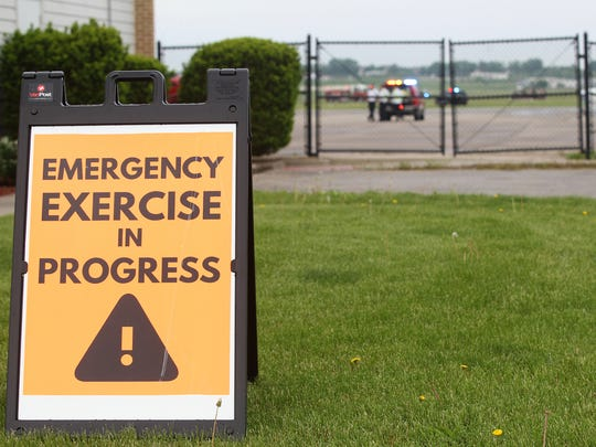 Emergency responders participate in a mass casualty training exercise at the Iowa City Municipal Airport on Wednesday, May 17, 2017.