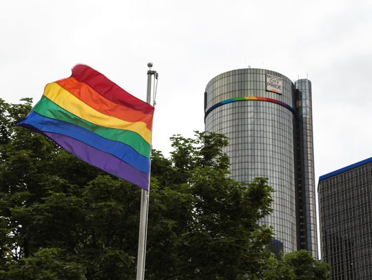 An LGBTQ pride flag flies at Hart Plaza in downtown
