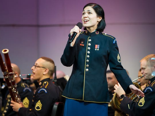 Staff Sergeant Michaela Shelton of Moorestown is a soprano in the Soldiers' Chorus of the U.S. Army Field Band.  The U.S. Army Field Band will be performing at Knight Park in Collingswood on June 28.