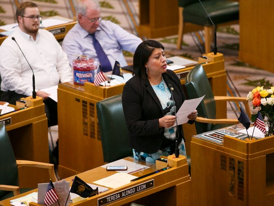 Rep. Teresa Alonso Leon, D-Woodburn, speaks in support