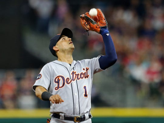 Tigers shortstop Jose Iglesias (1) catches a fly ball hit by Indians shortstop Francisco Lindor (12) in the seventh inning of the Tigers' 4-0 loss Saturday in Cleveland.