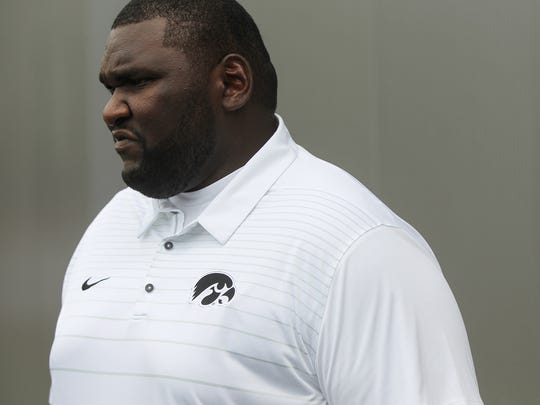 Iowa recruiting coordinator Kelvin Bell answers questions during media day on Saturday, Aug. 5, 2017.