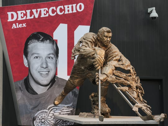 A statue of former Detroit Red Wings player Alex Delvecchio