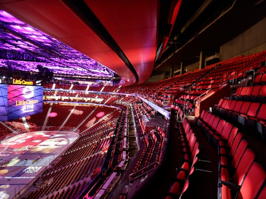 A view of the inside of Little Caesars Arena in Detroit