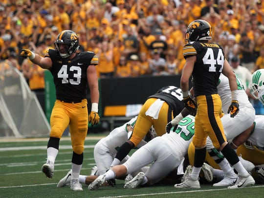 Iowa linebacker Josey Jewell celebrates a blocked field goal during the Hawkeyes' game against North Texas at Kinnick Stadium on Saturday, Sept. 16, 2017.