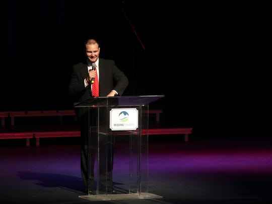 Redding Chamber of Commerce President Jake Mangas speaks Tuesday during the State of the City luncheon at the Redding Civic Auditorium.