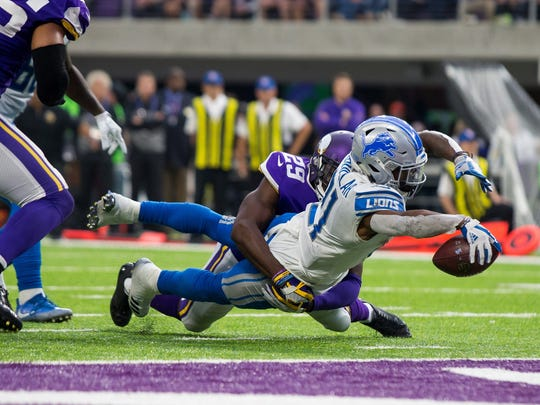 Oct 1, 2017; Minneapolis, MN, USA; Lions running back