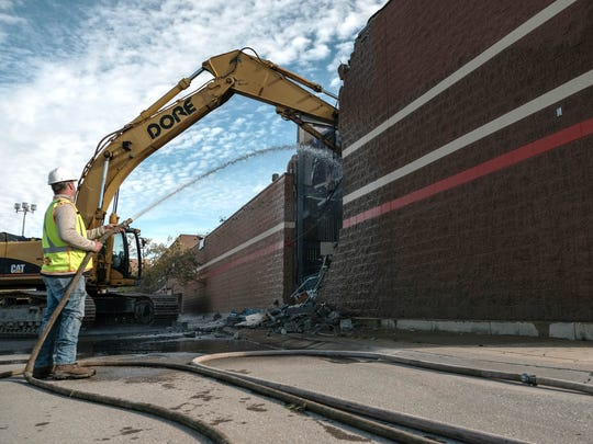Demolition of a former Target site on the Northland Center property in Southfield begins on Thursday, October 26, 2017.