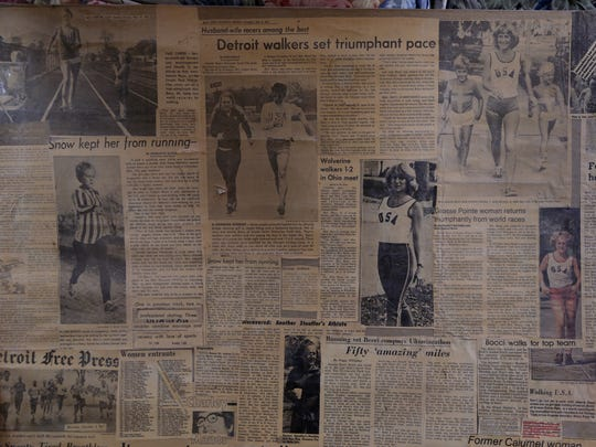 Newspaper clips of articles written about Jeanne Bocci, 74, a retired teacher and former nationally ranked race walker who started a New Year Eve fun run with friends in her Grosse Pointe Park neighborhood in 1970. It grew into an annual race on Belle Isle but this year she doesn't have any major sponsor.