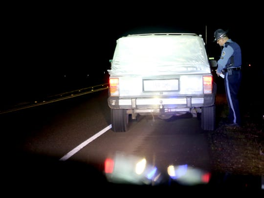 Oregon State Police trooper Cristian Cuevas pulls over