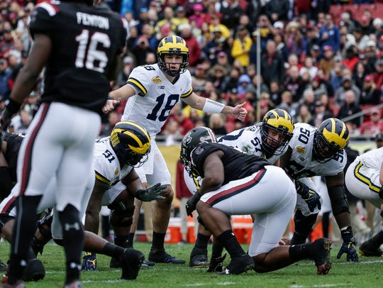 Michigan Wolverines quarterback Brandon Peters talks