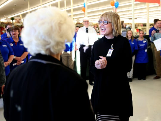 Debbie Kinsey, with Hobby Lobby's Management Ministries, welcomes Salem Area Chamber of Commerce members and other guests during the grand opening for Hobby Lobby at the Willamette Town Center in Salem on Monday, Jan. 1, 2018.
