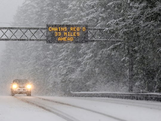 Snow is expected in the Cascade Foothills and Coast