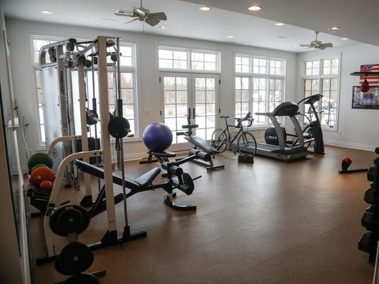 It has a serious gymnasium because the wife is a tri-athlete.