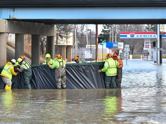 The Admiral gas station on E. Kalamzoo is under water