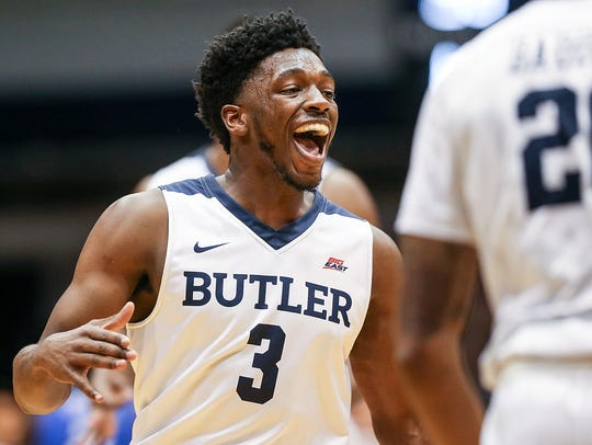 Butler Bulldogs guard Kamar Baldwin (3) celebrates