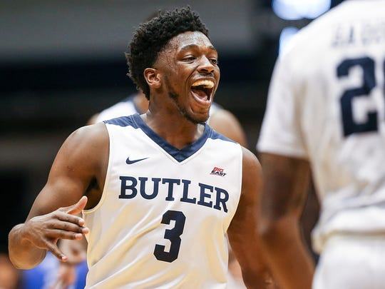 Butler Bulldogs guard Kamar Baldwin (3) celebrates the team's lead during first half action between Butler and Creighton at Hinkle Fieldhouse, Feb. 20, 2018.