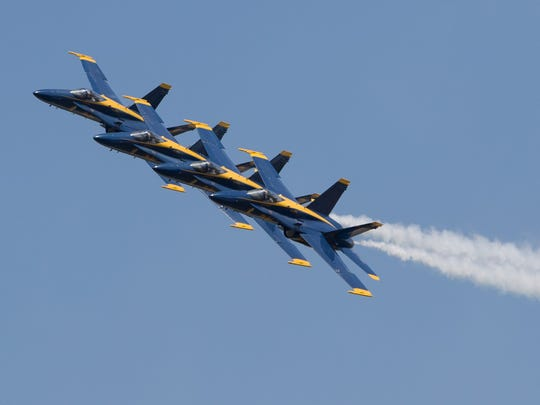 The Blue Angels perform during the Wings Over South Texas air show at the Naval Air Station Kingsville, Saturday, April 9, 2016.