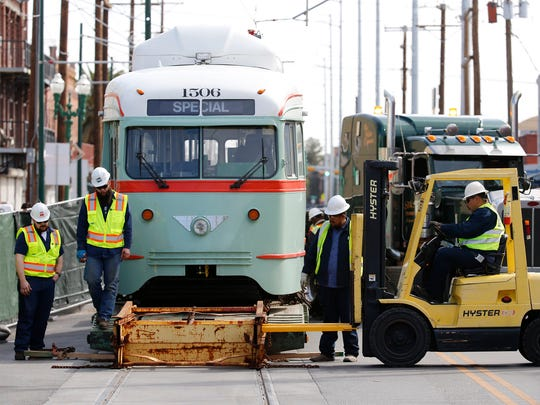The newly refurbished President's Conference Committee vintage streetcar was loaded off a flatbed truck and onto the new tracks in Downtown Monday. The arrival of car No. 1506 marks the return of the historic streetcars to Downtown El Paso, with five more on the way.