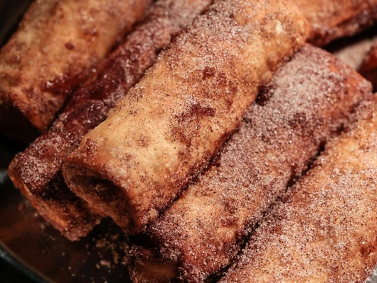 Apple pie egg rolls are seen on display March 23 during the Tigers concessions sneak peek at Comerica Park.