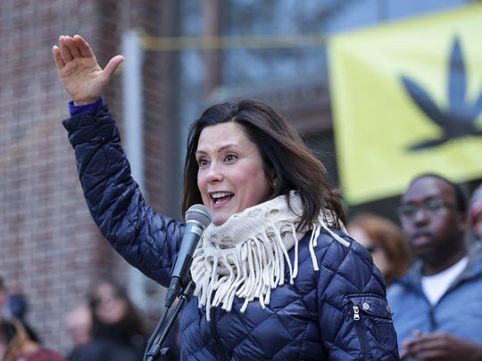 Democratic gubernatorial candidate Gretchen Whitmer speaks during the annual Hash Bash at U-M's Diag in Ann Arbor on Saturday, April 7, 2018.