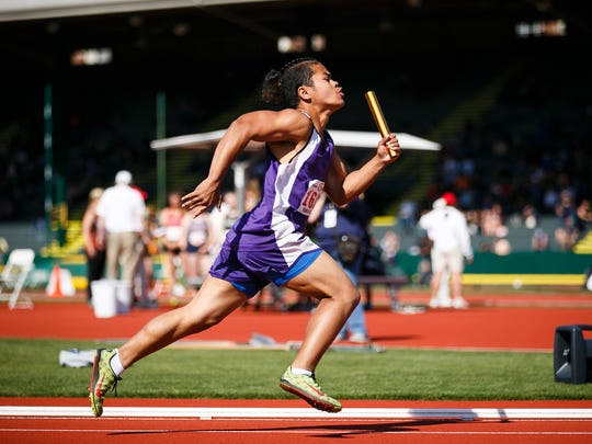Oregon School for the Deaf's Seiper Emuch takes off for the first leg of the 1A boys 4x100 meter relay at the OSAA Track and Field Championships on Friday, May 18, 2018, at Hayward Field in Eugene.