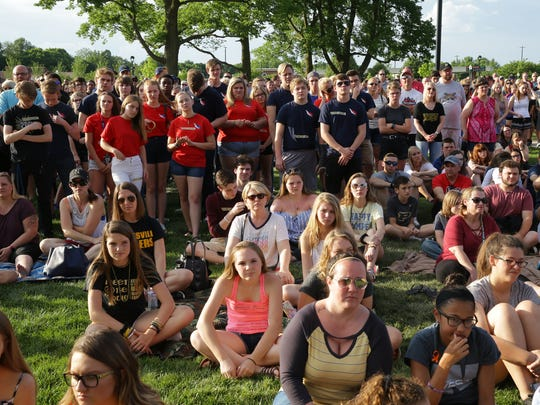 Community members attend a prayer vigil at Federal Hill Commons in Noblesville in response to a shooting at Noblesville West Middle School, Saturday, May 26, 2018.