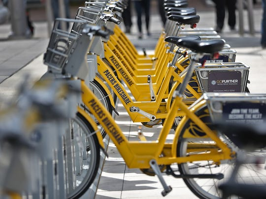 Bikes wait to be used in the Indiana Pacers Bikeshare