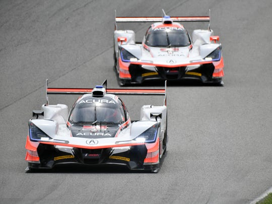 The No. 7 Acura Team Penske of Helio Castroneves and Ricky Taylor, and the No. 6 Acura Team Penske of Dane Cameron and Juan Pablo Montoya.