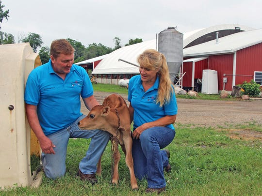 John and Cynthia Addams, who own about 135 cows, on their dairy farm, Knollbrook Farm in Goshen, Ind.