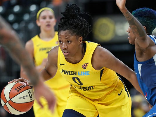 Indiana Fever guard Kelsey Mitchell (0) during Indiana Fever vs. Minnesota Lynx at Banker's Life Fieldhouse in Indianapolis, Wednesday, July 11, 2018