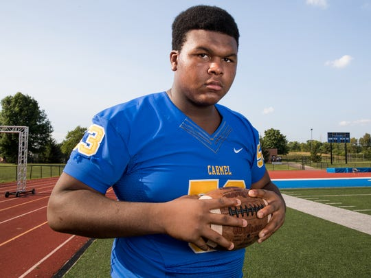 Caleb Shaffer, offensive line for Carmel High School, part of the IndyStar Super Team for football.