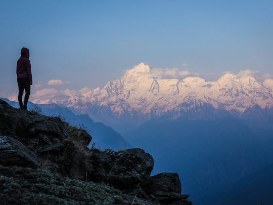 Ashley Fleckenstein on day eight of a nine-day trek in the Indian Himalaya. At age 24, Fleckenstein already has traveled more than most people do in a lifetime — 38 countries and 20 states in the last nine years.