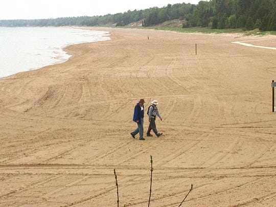 The beach at Whitefish Dunes State Park looked a lot different in May 2001, when Lake Michigan was approaching record low levels.