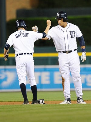 Miguel Cabrera doubles in the seventh inning Friday night.