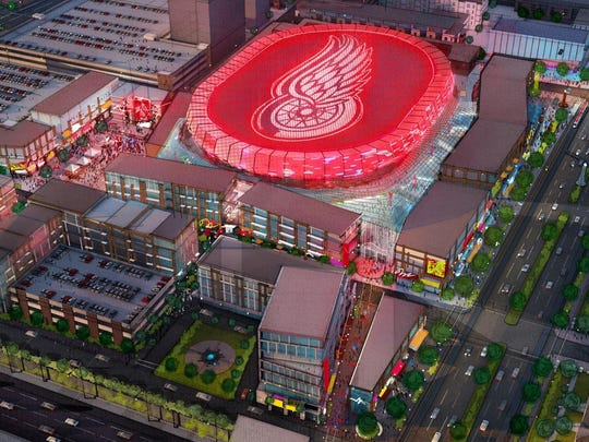 A 2014 rendering showed the Red Wings logo atop the future Detroit arena.