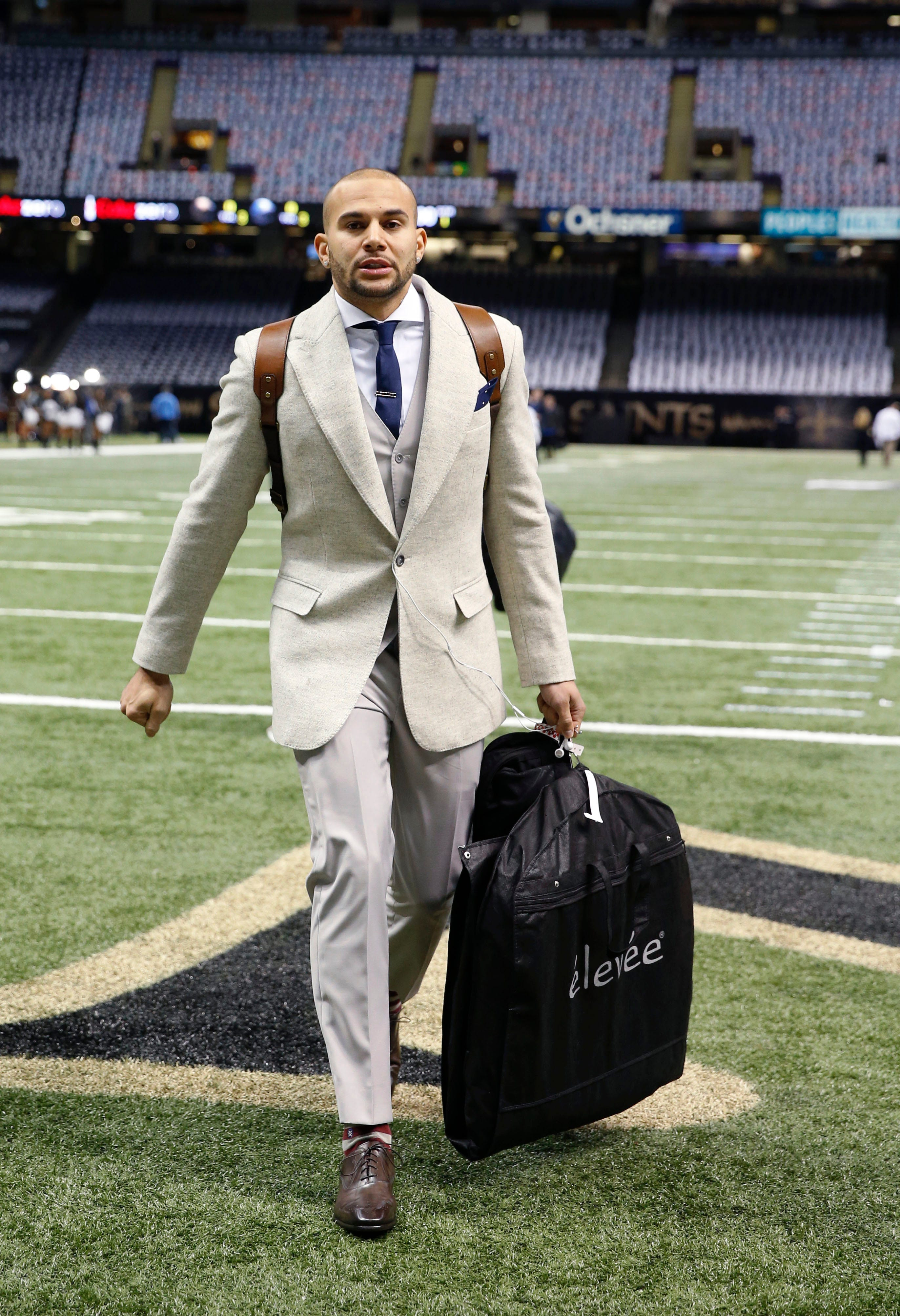 Detroit Lions Wide Receiver Lance Moore Arrives Before An NFL Football Game  Against The New Orleans Saints In New Orleans, Monday, Dec. 21, 2015.