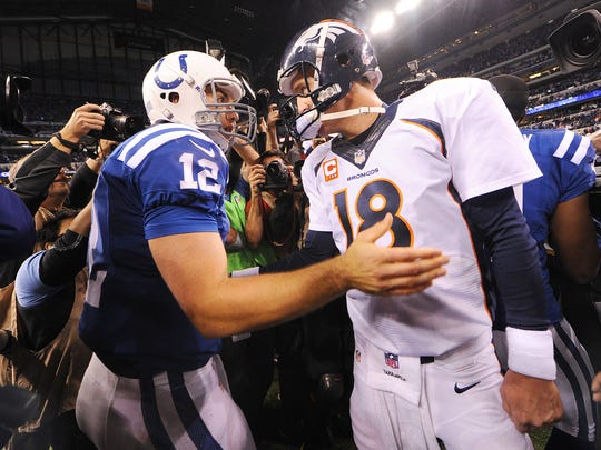 Colts' past and present meet after Indy's win over Denver Oct. 21, 2013.