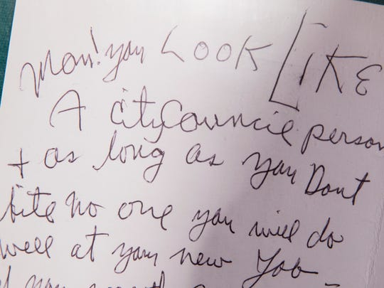Charles Manson wrote this card to Indianapolis resident Bill Bruton, after Bruton announced a bid to run for city couneil, in the archives of Bruton a day after Charles Manson died after a long illness, Indianapolis, Monday 20, 2017. Manson spent 46 years in prison after he ordered several murders in California, including of the actor Sharon Tate.