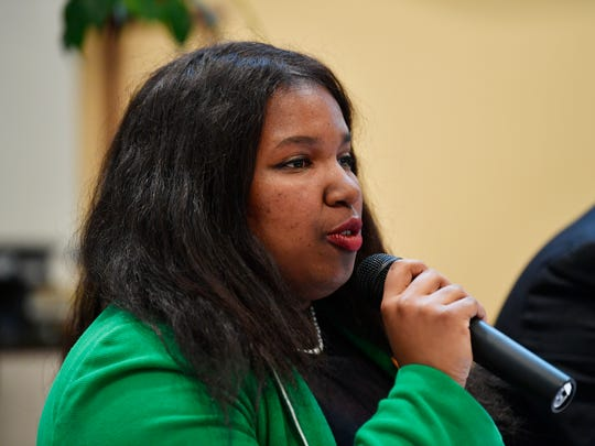 Shavonnia Corbin-Johnson speaks at a candidate forum on Wednesday, April 18, 2018, at the Unitarian Universalist Church of York.
