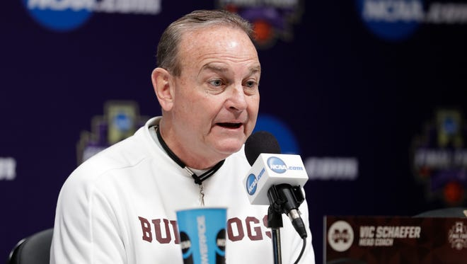 Mississippi State head coach Vic Schaefer responds to a question during a news conference for the women's NCAA Final Four college basketball tournament, Saturday, March 31, 2018, in Columbus, Ohio. Mississippi State will play Notre Dame on Sunday in the national championship. (AP Photo/Tony Dejak)