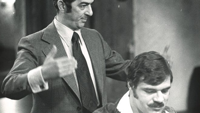 Former Binghamton Mayor Al Libous, left, with Miami Dolphins and Syracuse University running back Larry Csonka at the Triple Cities chapter of the St. Bonaventure University Alumni Association annual banquet in April  1974 at the Fountains Pavilion in Johnson City.