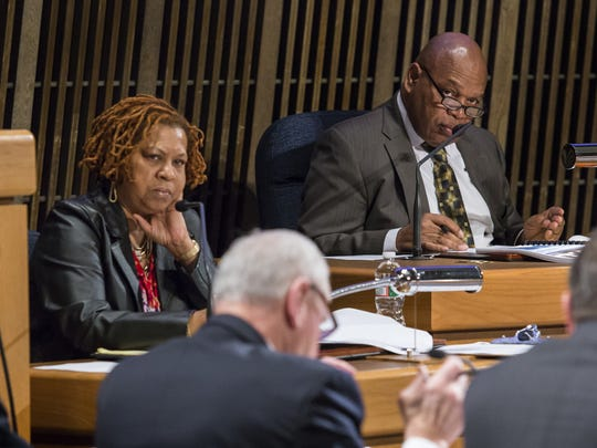 Wilmington City Council President Theo Gregory and Councilwoman Hanifa Shabazz attend a Public Safety Committee meeting in 2015.